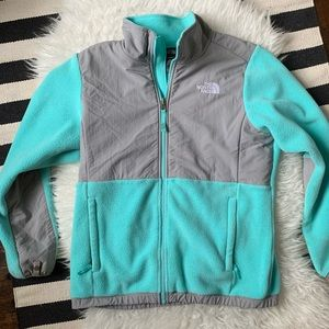 North Face aqua gray fleece full-zip girls XL